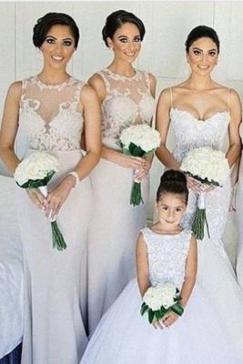 Sheath-Column Scoop-neckline Lace Sweep-train Sleeves Bridesmaid Dress_2