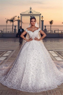 Off the Shoulder Sweetheart Ball Gown Exquisite Lace Wedding Dresses_8