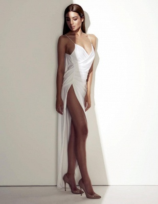 Sexy Summer Wedding Dresses Spaghettis Straps High Side Slit Backless Beach Party Dress_4