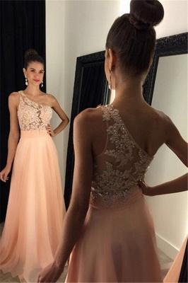One-Shoulder A-line Lace Appliques Gorgeous Prom Dresses_3