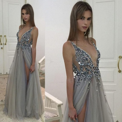 Sexy Deep V-neck Crystals Front Slit Open Back Tulle Prom Dresses with Beadings_4