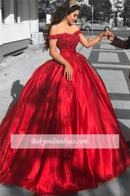 Red Gown Ball Off-the-Shoulder Evening Dress_3