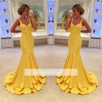 Simple Yellow Mermaid Tiered Spaghetti-Straps Prom Dress_1