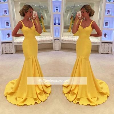 Simple Yellow Mermaid Tiered Spaghetti-Straps Prom Dress_1