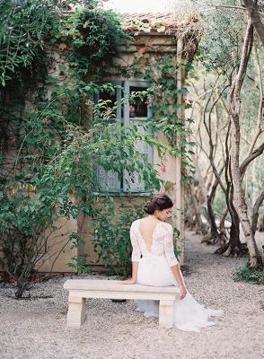 A-line Wedding Dresses Lace Top 3/4 Long Sleeves V Neck Open Back Elegant Bridal Gowns_5