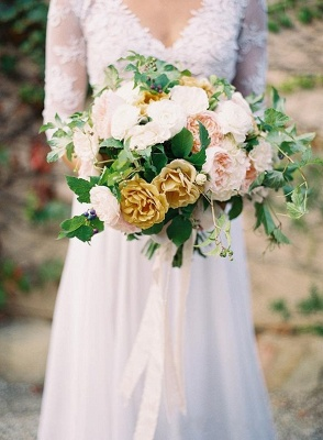 A-line Wedding Dresses Lace Top 3/4 Long Sleeves V Neck Open Back Elegant Bridal Gowns_3