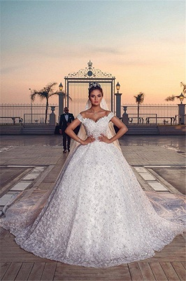 Off the Shoulder Sweetheart Ball Gown Exquisite Lace Wedding Dresses_1