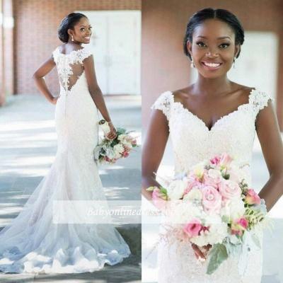 Elegant V-neck Sheath Sleeveless Long-Train Tulle Lace Sexy Wedding Dress_1