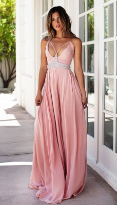 Pink Prom Dresses Spaghettis Straps Long Boho Summer Party Gowns_3