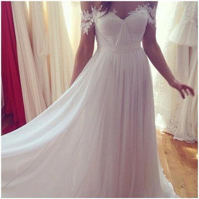 Beach Wedding Dresses Off the Shoulder Lace Appliques Summer Elegant Bridal Gowns_4