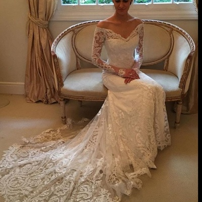 Off-the-shoulder Wedding Dresses | V-neck Long Sleeves Lace Bridal Gowns_5