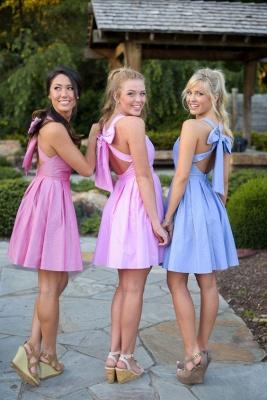 Cross Cheap Short Halter Back Bow Blue Bridesmaid Dresses_2