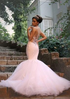 Elegant Mermaid Lace Wedding Dresses | Spaghettis Beaded Tulle Bride Gowns_3