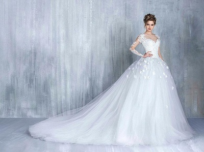 Elegant Tulle Appliques Long Sleeves Sweetheart Wedding Ball Gowns_5