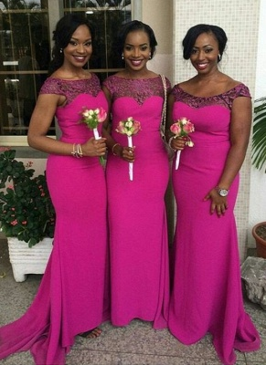 Fuchsia Mermaid Bridesmaid Dresses | Capped Sleeves Maid of The Honor Dress_3