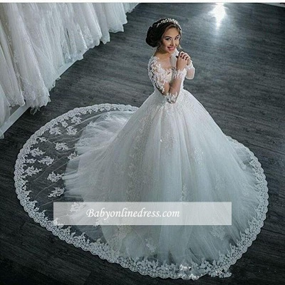 Elegant Sheer Lace Long Sleeves Bridal Ball Gown Beaded Wedding Dresses_1