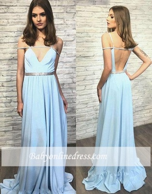 Blue Backless Stylish Long V-neck Evening Dress_3