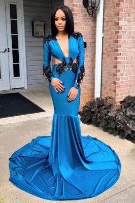 Sexy Deep V-Neck Prom Dresses | Long Sleeves Mermaid Evening Dresses_1