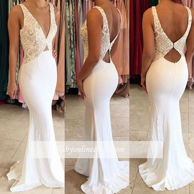 Sexy Lace Mermaid Evening Dresses Sleeveless White Deep V-Neck Open Back Prom Gowns_1