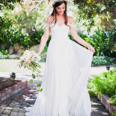 Beach Wedding Dresses Off the Shoulder Lace Appliques Summer Elegant Bridal Gowns_6