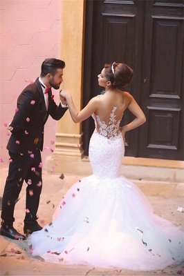 Elegant Mermaid Lace Wedding Dresses | Spaghettis Beaded Tulle Bride Gowns_6