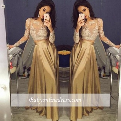 Sexy Gold Two-Piece Long Sleeves Lace A-Line Prom Dresses_1