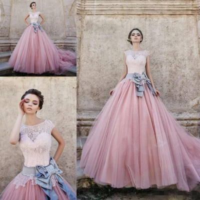 Pink Lace Capped Sleeves Bridal Gowns Ball-Gown Wedding Dress with Bowknot_3