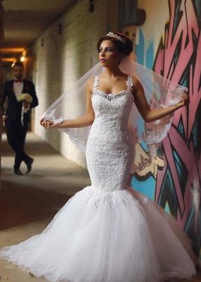 Elegant Mermaid Lace Wedding Dresses | Spaghettis Beaded Tulle Bride Gowns_1