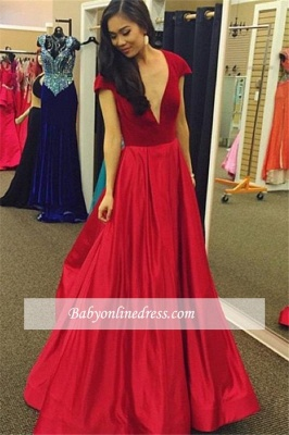 Sexy Red Cap-Sleeves A-Line Deep V-Neck Party Gowns Velvet Prom Dress_3