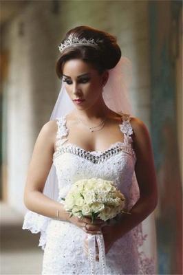 Elegant Mermaid Lace Wedding Dresses | Spaghettis Beaded Tulle Bride Gowns_4