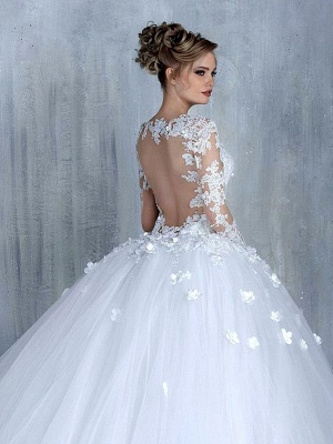 Elegant Tulle Appliques Long Sleeves Sweetheart Wedding Ball Gowns_3