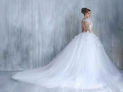Elegant Tulle Appliques Long Sleeves Sweetheart Wedding Ball Gowns_4