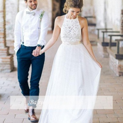 Floor Length Lace Halter A-line Sashes Simple White Wedding Dresses_1