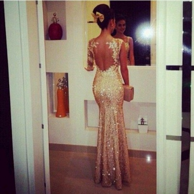 Gorgrous Sequined Appliques Mermaid Prom Dresses Gold Beaded Evening Gowns_2