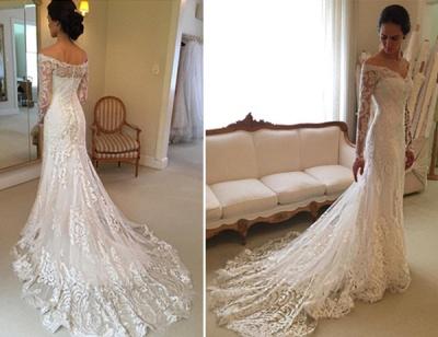 Off-the-shoulder Wedding Dresses | V-neck Long Sleeves Lace Bridal Gowns_3
