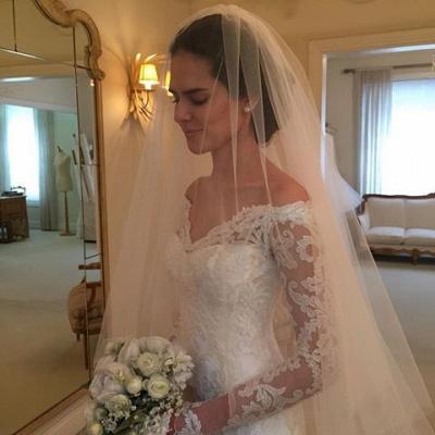 Off-the-shoulder Wedding Dresses | V-neck Long Sleeves Lace Bridal Gowns_6