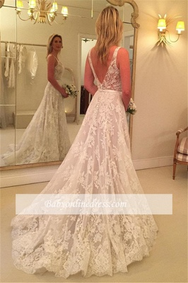 A-line Sleeveless Buttons Lace Appliques V-Neck Wedding Dress_1