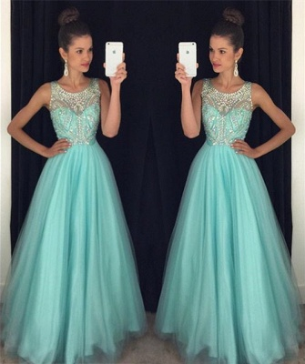 Baby Blue Prom Dresses Rhinestones Beaded Backless Long Luxury Evening Gowns_3