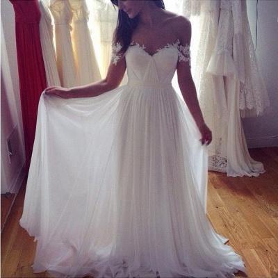 Beach Wedding Dresses Off the Shoulder Lace Appliques Summer Elegant Bridal Gowns_3