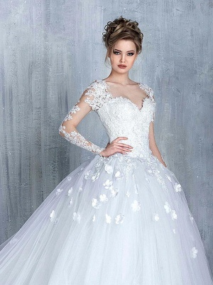 Elegant Tulle Appliques Long Sleeves Sweetheart Wedding Ball Gowns_1