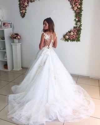 Beach White A-Line Lace Appliques Court-Train Tulle Wedding Dresses_3