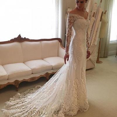 Off-the-shoulder Wedding Dresses | V-neck Long Sleeves Lace Bridal Gowns_4