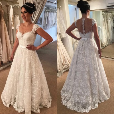 Modern Capped Sleeves Wedding Dress   Elegant Lace A-line Bridal Gowns_3