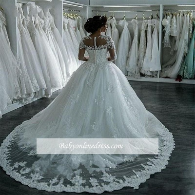 Elegant Sheer Lace Long Sleeves Bridal Ball Gown Beaded Wedding Dresses_4