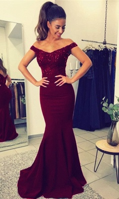 2018 Mermaid Prom Dresses Appliques Beaded Open Back Evening Gown_2