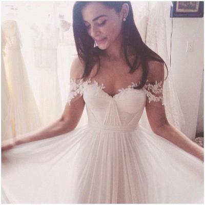 Beach Wedding Dresses Off the Shoulder Lace Appliques Summer Elegant Bridal Gowns_5