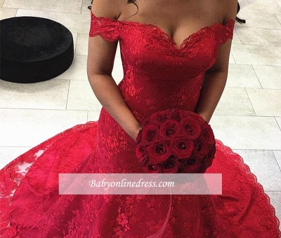 Sexy Red Off-the-shoulder Court-Train Lace Mermaid Evening Dresses_3