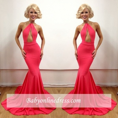 2018 Floor-Length Open-Back Sexy Mermaid Sleeveless Peach Evening Gowns_1