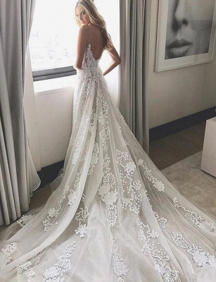 Elegant Spaghetti Tulle Lace-Applique Straps A-line Wedding Dresses_3