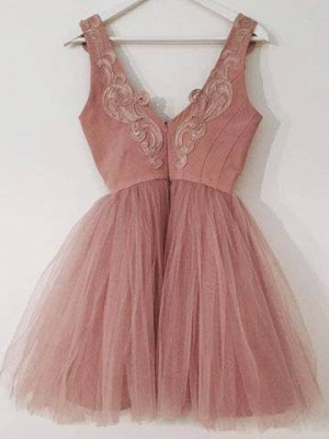 Lace-Appliques Short Tulle A-line Cute Pink Homecoming Dresses_3